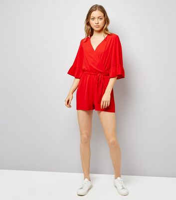 Red Bell Sleeve Wrap Front Playsuit New Look