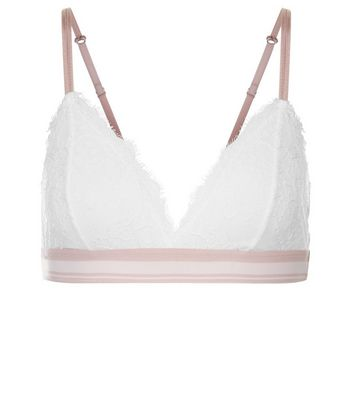 White Lace Stripe Underband Bralet New Look
