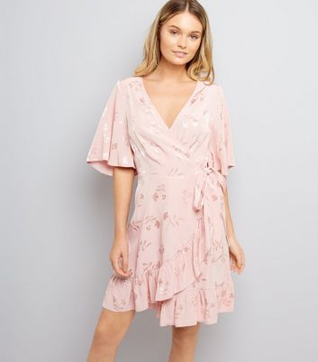 Pink Floral Jacquard Wrap Front Dress New Look