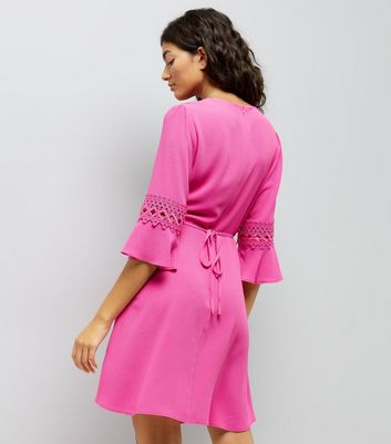 Pink Crochet Bell Sleeve Skater Dress New Look