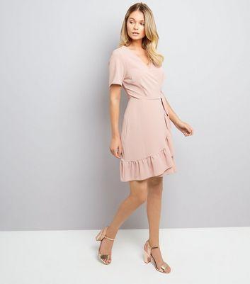 Shell Pink Frill Hem Wrap Dress New Look