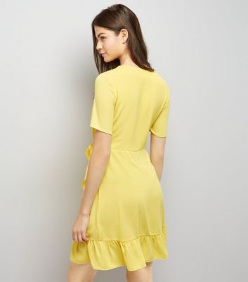 Yellow Frill Hem Wrap Dress New Look