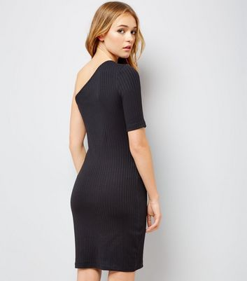 Black Off the Shoulder Ribbed Bodycon Dress New Look