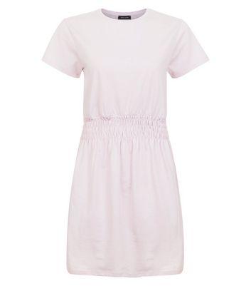 Mid Pink Shirred Waist T-Shirt Dress New Look