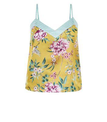Yellow Floral Print Pyjama Cami Top New Look