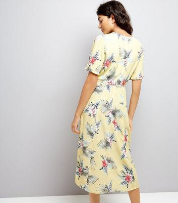 Yellow Tropical Floral Print Midi Dress New Look