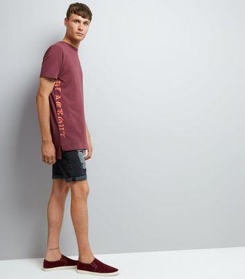 Red Blackout Print Longline T-Shirt New Look