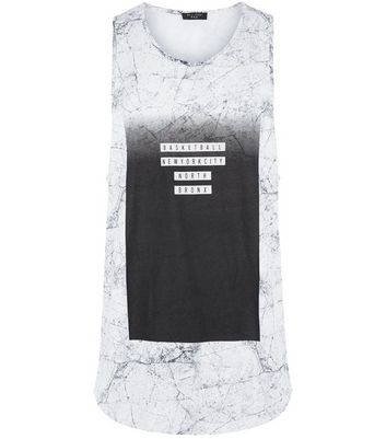 Black Marble Print Basketball Vest New Look