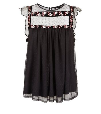 Black Polkadot Floral Embroidered Smock Top New Look