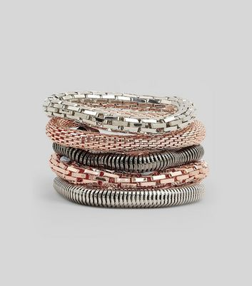 5 Pack Rose Gold and Silver Stretch Bracelets New Look