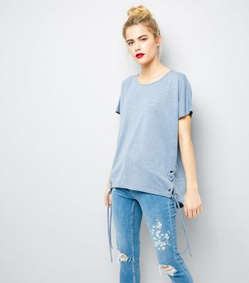 Blue Eyelet Lace Up Side T-Shirt New Look