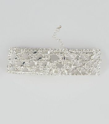 Silver Diamante Wide Choker New Look