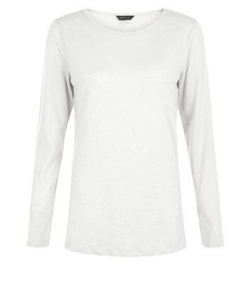 White Crew Neck Long Sleeve Top New Look