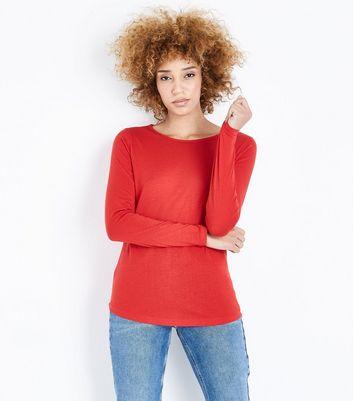 Red Crew Neck Long Sleeve Top New Look