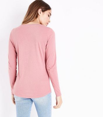Mid Pink Crew Neck Long Sleeve Top New Look