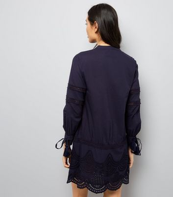 Navy Cut Out Tunic Dress New Look