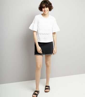 White Cut Out Detail Frill Sleeve Top New Look