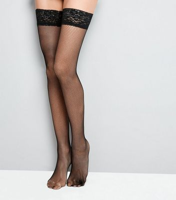 Black Fishnet Lace Trim Hold Up Stockings New Look