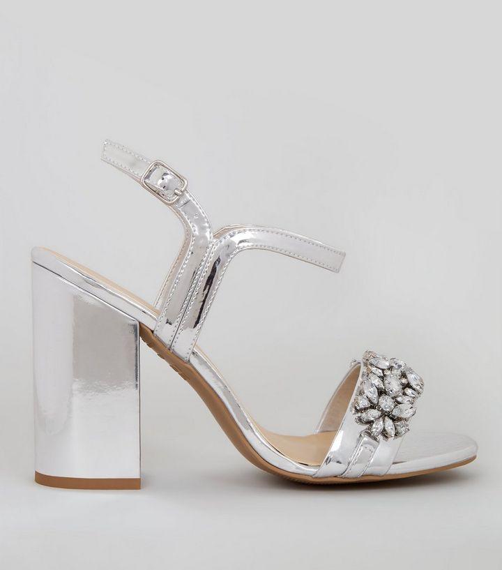 fe062030dd5 Silver Embellished Block Heel Sandals