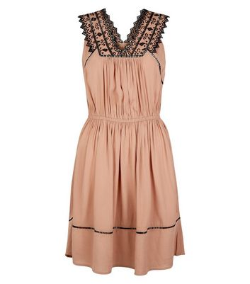 Brown Embroidered V Neck Dip Hem Dress New Look