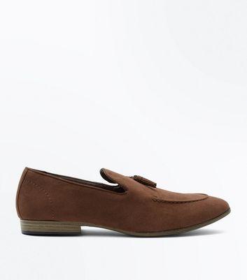Brown Suedette Tassel Loafers New Look