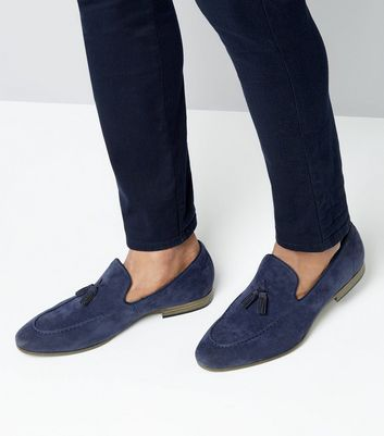 Navy Suedette Tassel Loafers New Look