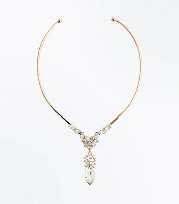 Gold Iridescent Gem Embellished Torque Necklace New Look
