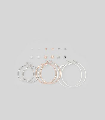Silver 9 Pack Hoop and Stud Earrings New Look