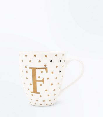 White F Initial Mug New Look