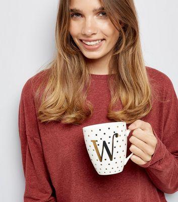 White W Initial Mug New Look