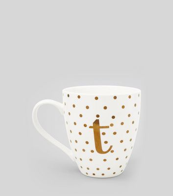 White T Initial Mug New Look