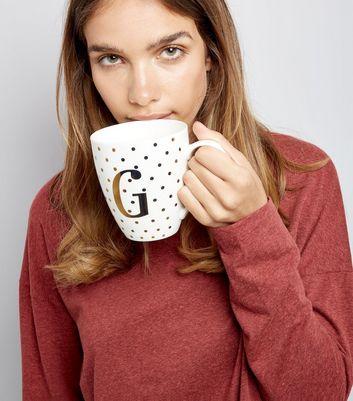White G Initial Mug New Look