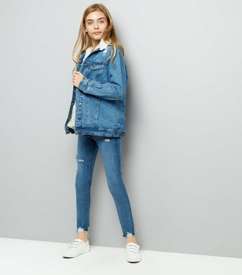 Teens Blue Borg Lined Ripped Denim Jacket New Look