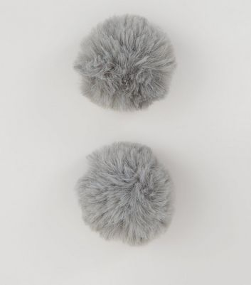 Grey Pom Pom Shoe Clips New Look