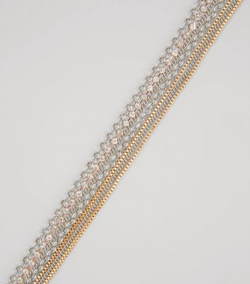Gold and Silver Diamante Layered Chain Choker New Look