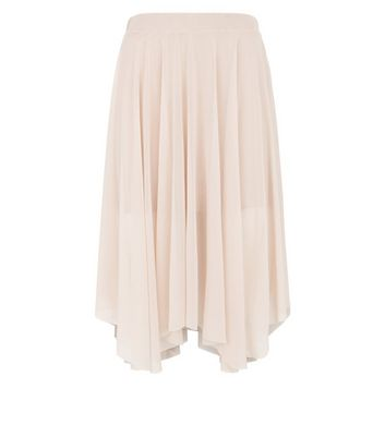 Petite Shell Pink Mesh Hanky Hem Midi Skirt New Look