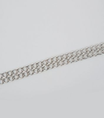 Silver Double Chain Choker New Look