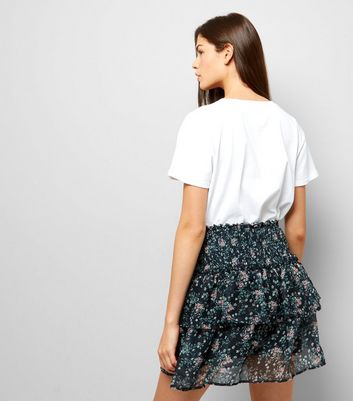 Black Floral Print Mesh Mini Skirt New Look