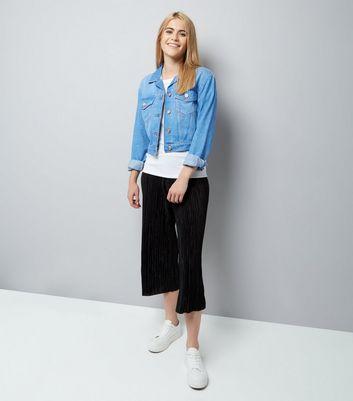 Blue Cropped Denim Jacket New Look