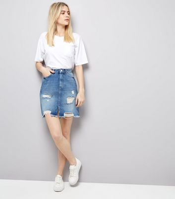 Blue High Waist Ripped Denim Skirt New Look
