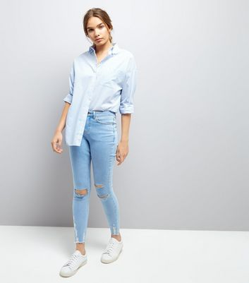 Pale Blue Ripped Hem Skinny Jenna Jeans New Look