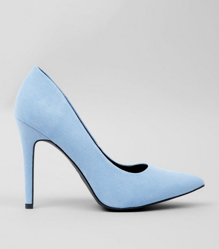 2dddff9865 Wide Fit Pale Blue Suedette Heels | New Look