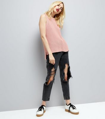 Pink Ripped Back Knitted Tank Top New Look