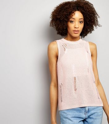 Shell Pink Ribbed Laddered Vest New Look