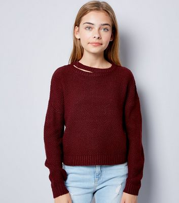 Teens Burgundy Cut Out Neck Knit Jumper New Look