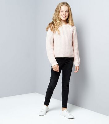 Pink Cross Front Knit Jumper New Look