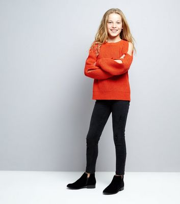 Teens Orange Cold Shoulder Jumper New Look