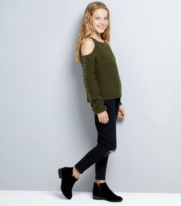 Teens Khaki Cold Shoulder Jumper New Look