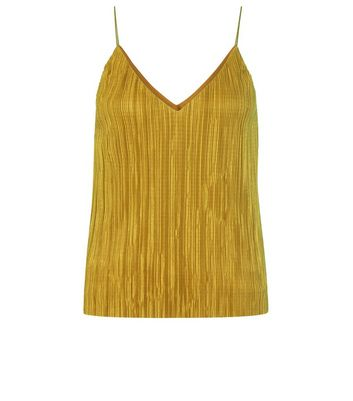 Green Pleated Cami Top New Look