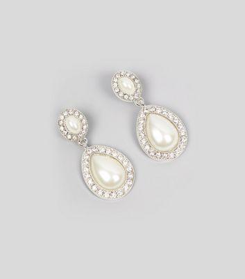 Silver Diamante Pearl Drop Earrings New Look